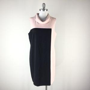 Tahari 14 Blush Pink Black dress Cowl Neck